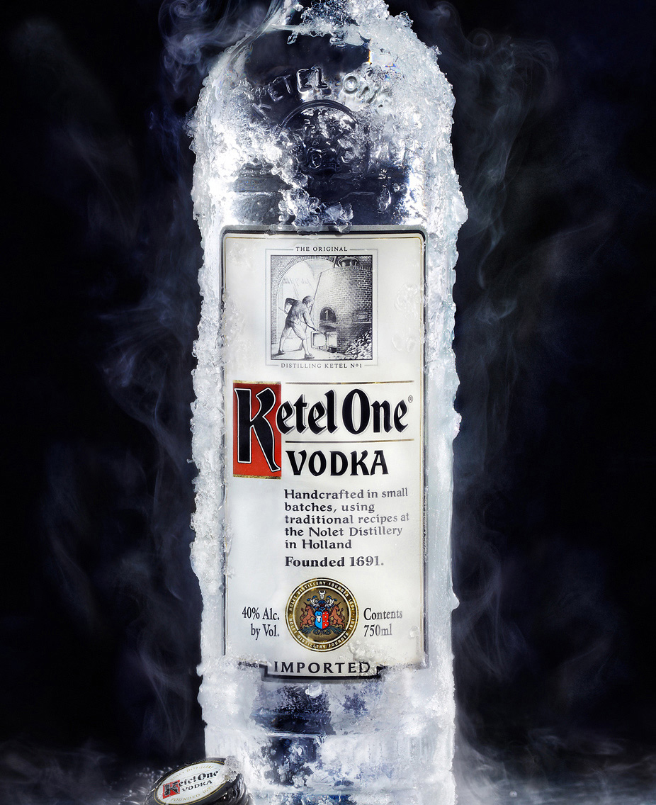 ice cold Ketel One Vodka bottle with steam