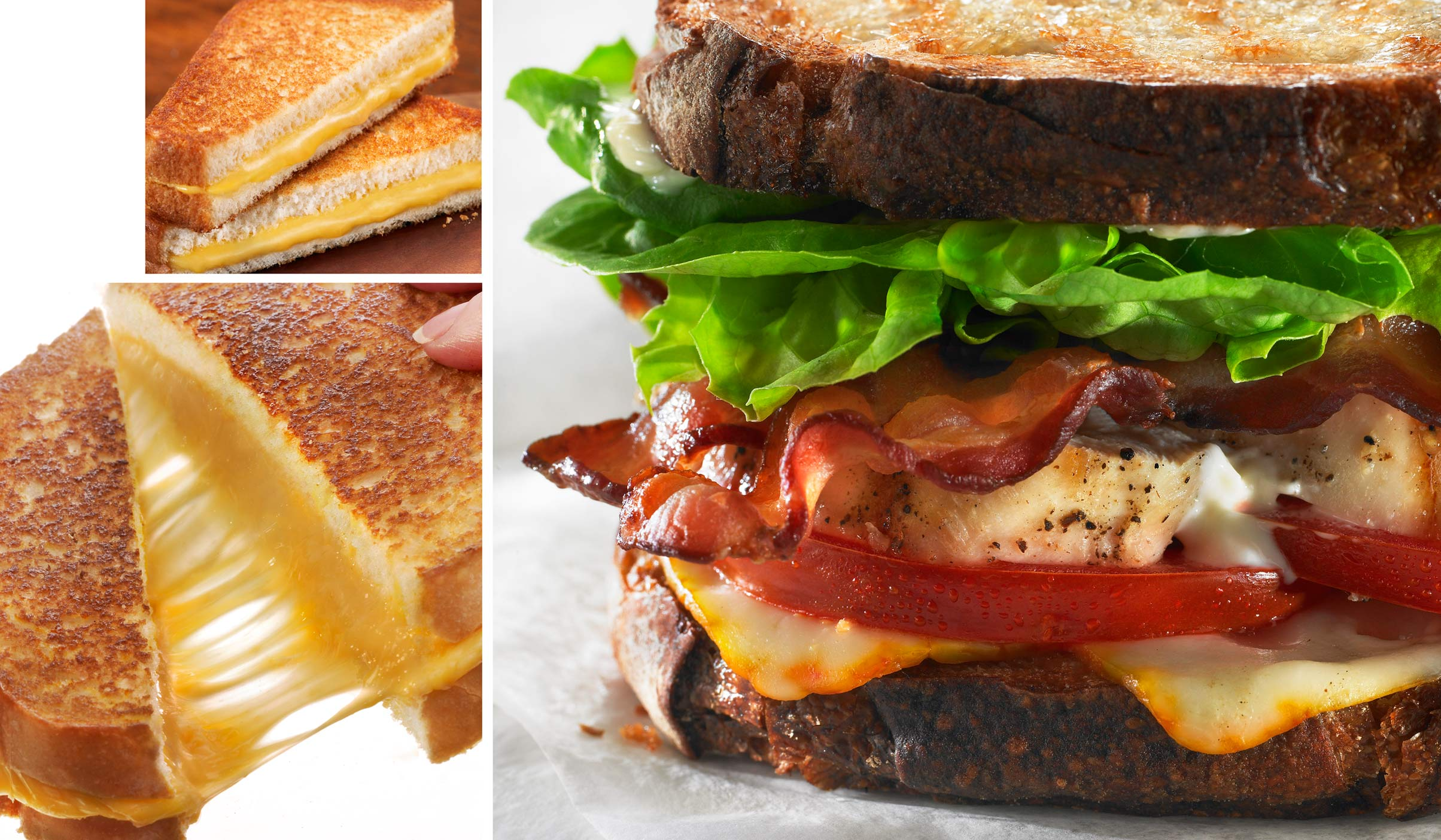 Grilled Cheese Sandwich, Cheese Pull, Turkey BLT