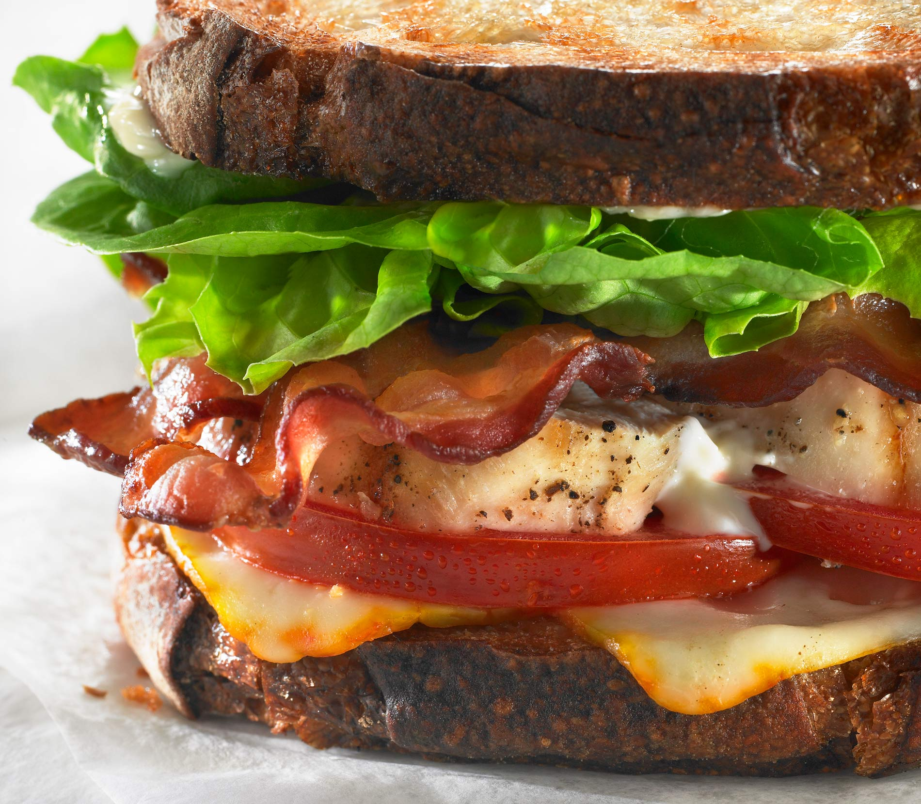 Bacon, lettuce, Tomato and grilled Chicken Sandwich shot For nestle Lean Cuisine CPG Packaging