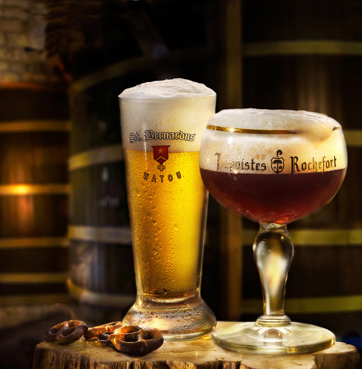 Belgian Beer in Brewery with oak casks in background for hospitality group