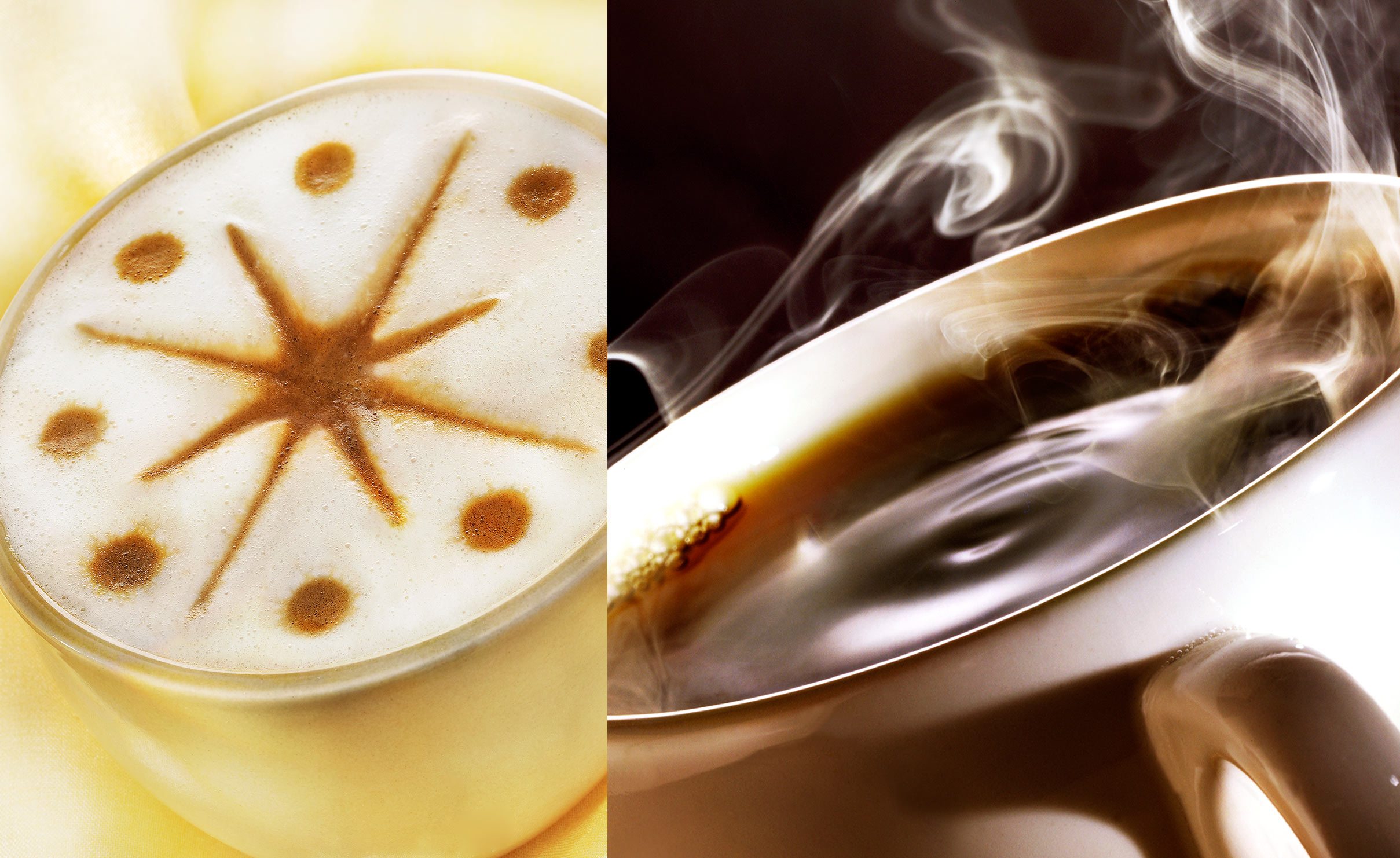 star Latte and Steaming Hot cup of Coffee