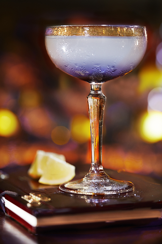 Aviation cocktail at Red Phone Booth bar and private club in Nashville Tennessee  Deaths Door Gin, Luxardo Maraschino, lemon, Creme de Violette. in Nashville Tennessee