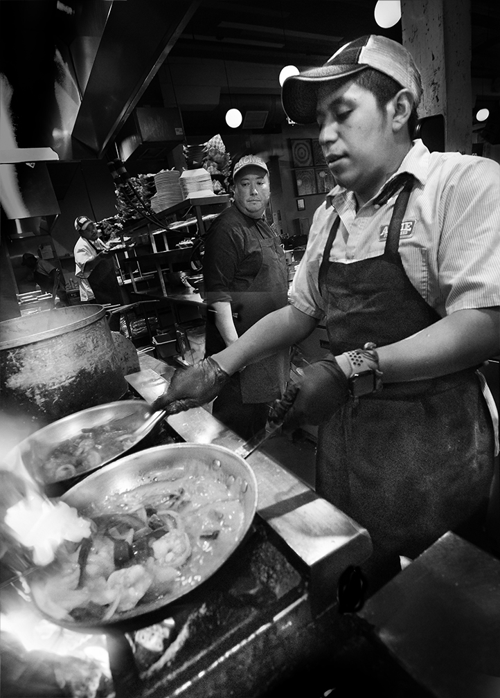 Flaming Sautee at Acme Feed and Seed Restaurant Chef Jeremy keeps a watchful eye.
