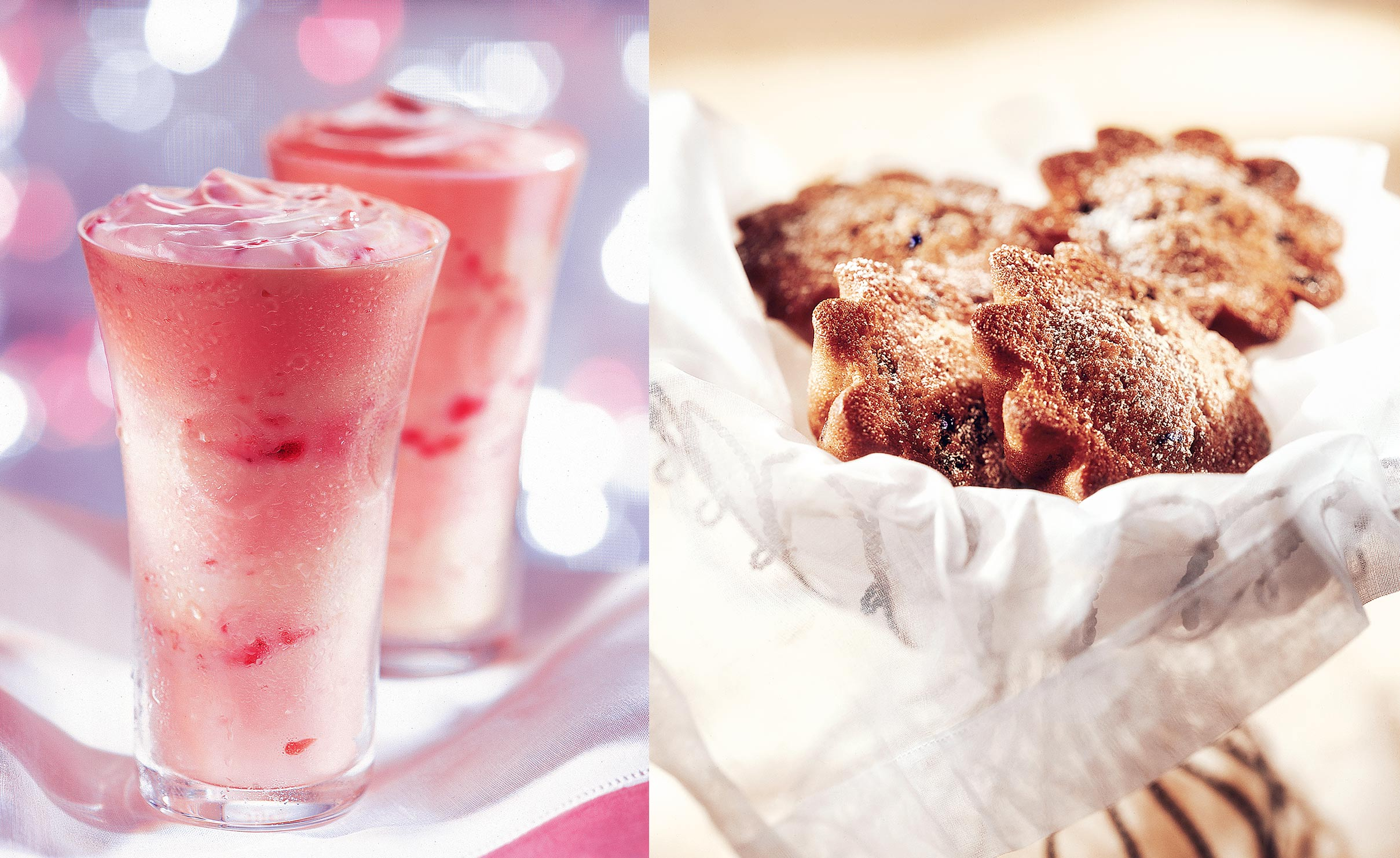 Strawberry smoothie and blueberry muffins