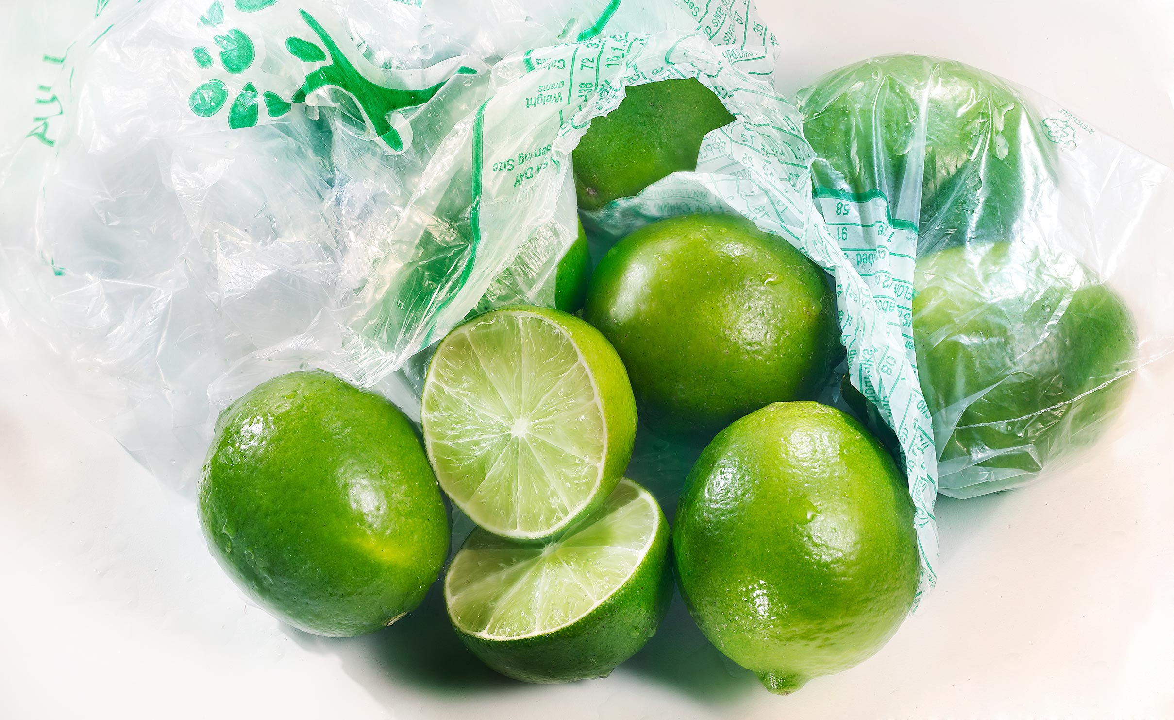 Limes in grocery bag
