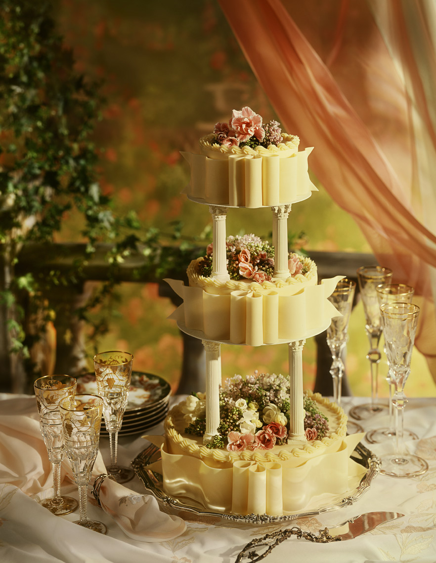 Three tiered Wedding Cake photographed for Food and Wine magazine