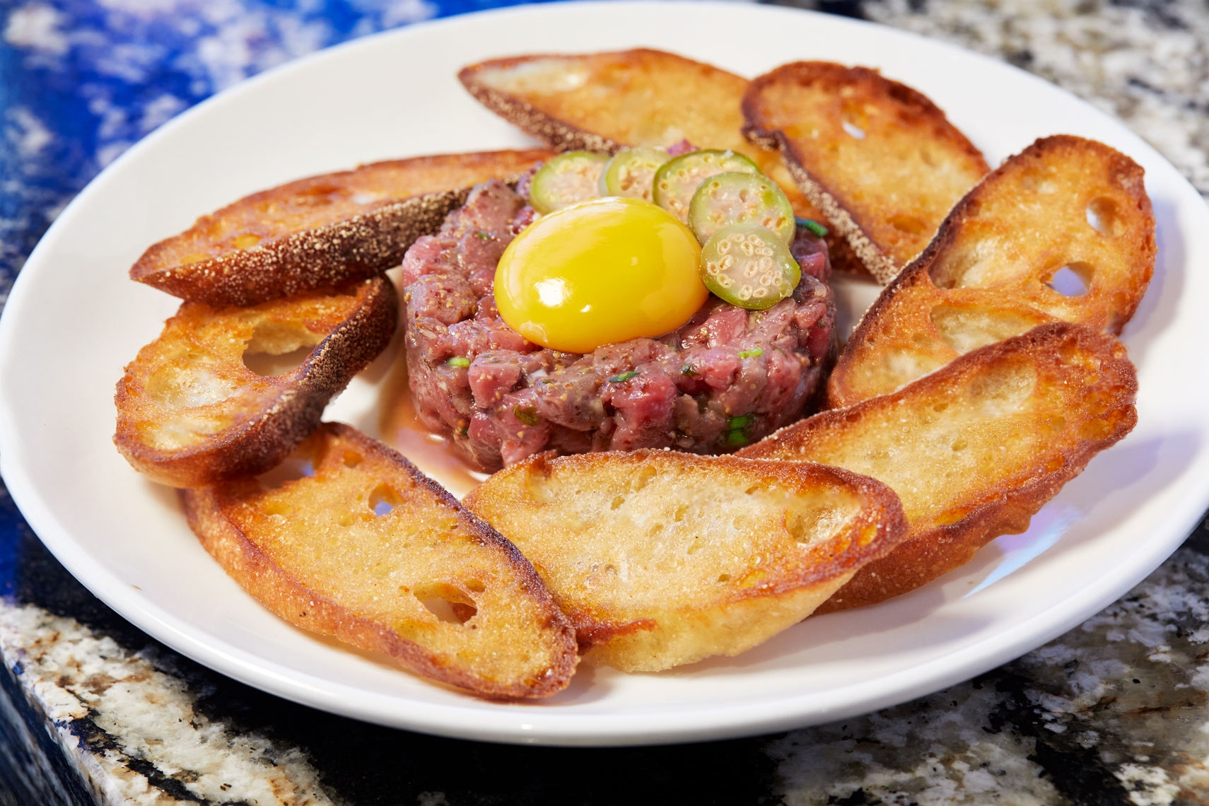 Beef Tartar with raw egg appetizer at The Chef and I restaurant in Nashville Tennessee