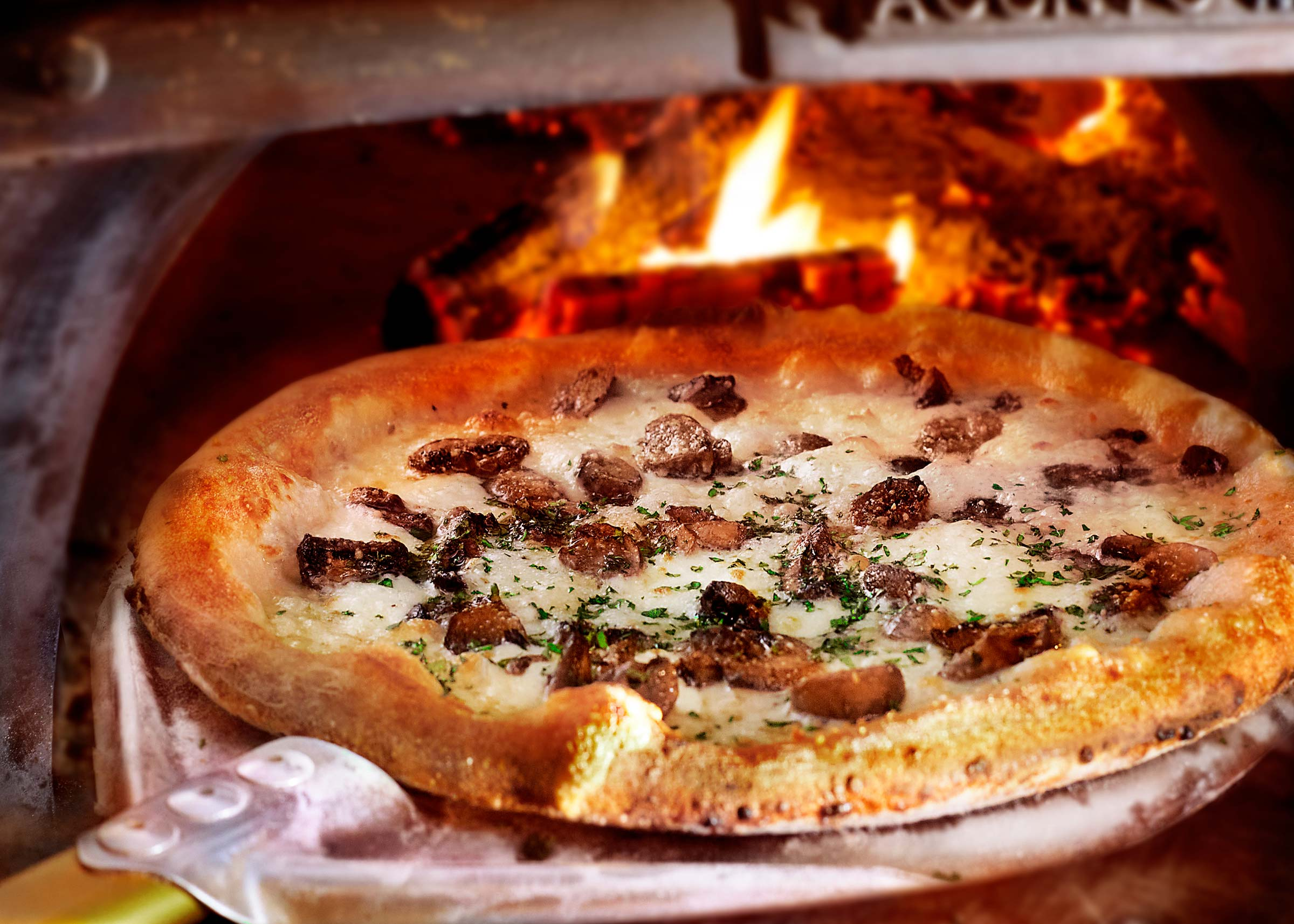 FUNGHI E PEPPERONCINO, Mushroom Pizza in Wood burning oven