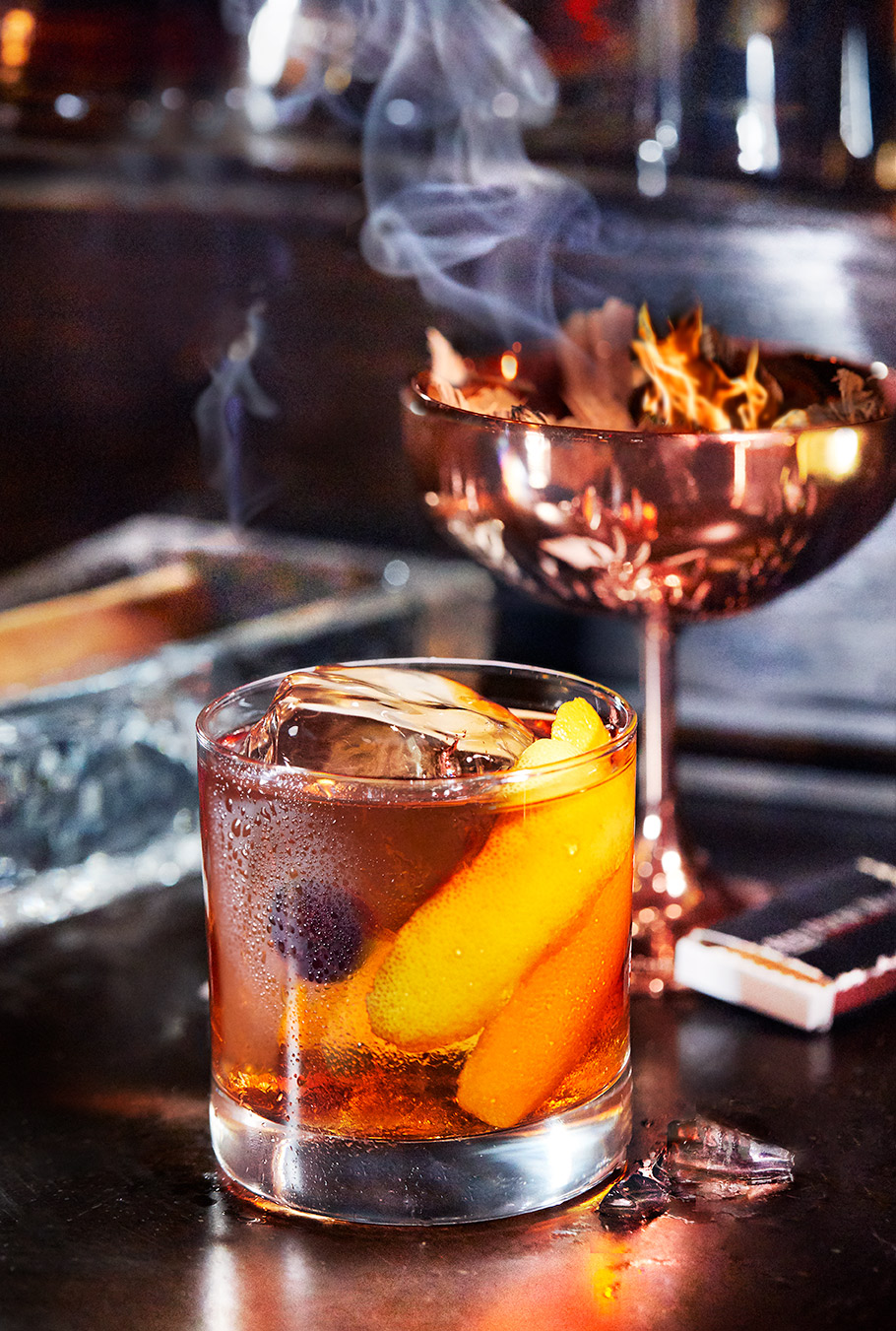 Smoked  Old Fashioned Cocktail at The Red Phone Booth in Nashville, Prohibition Speakeasy